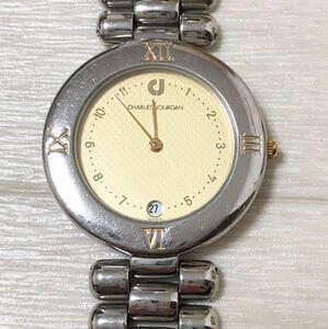 2121★ CHARLES JOURDAN シャルルジョルダン クォーツ 腕時計 340 0050 2針 日付 ユニセックス