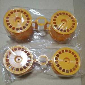 新品 タミヤ 四駆バギー用 ラージディッシュホイール 黄色 前後セット アフター品 ( アバンテ MK2 DB01 DF02 DF03 TT02B マンタレイ