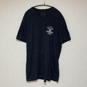 CHROME HEARTS クロムハーツ Vネック 半袖 Tシャツ スクロール ロゴ バックプリント L ブラック クロス