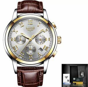 【1円】◆ 海外大人気ブランドLIGE メンズ高品質腕時計 クロノグラフ 防水 耐衝撃 レザーバンド 紳士 ウォッチ クォーツ時計 1423