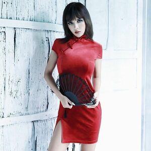 ◆ セクシー チャイナドレス コスプレ 衣装 スキニー タイト ノースリーブ ミニドレス ヴィンテージ レッド サイズ選択 1329