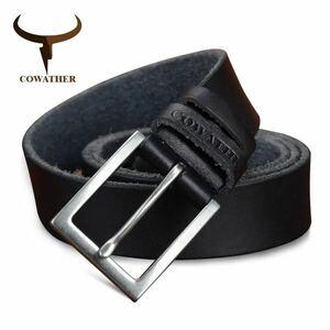 ☆ 激安◆ 1円 メンズベルト COWATHER 海外ブランド 高級 レザー 本革 牛革 ヴィンテージ サイズ選択 ビジネス 高品質 ブラック 1382