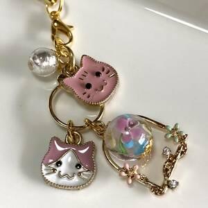 產品詳細資料,日本Yahoo代標|日本代購|日本批發-ibuy99|3色小花とんぼ玉と猫ちゃんのストラップ ピンク