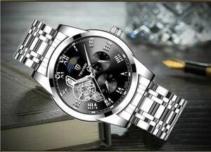 ☆TEVISE 高級メンズ腕時計 41mm 機械式 自動巻 ステンレス ムーンフェイズ トゥールビヨン スケルトン☆