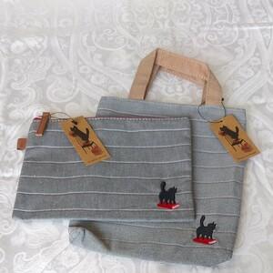 黒ネコ ミニトートバッグ & ポーチ
