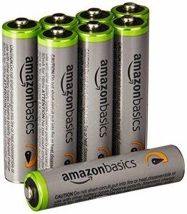 新品Amazonベーシック 充電池 高容量充電式ニッケル水素電池単4形8個セット (充電済み、最小容量 800mAhDCKR