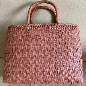 再入荷 未使用品 長野産 新品 サイズXL 職人手編み 網代編み 山葡萄籠バッグ