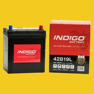 【インディゴバッテリー】42B19L バモス ('99~) GF-HM2 互換:34B19L,38B19L 新品保証付 メンテナンスフリー 即納