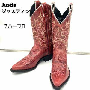 Justin ジャスティン ウエスタンブーツ 本革 レザー ワインレッド 7.5B 24.5~25相当 米国製 レディース USA ロングブーツ アメカジ 即決