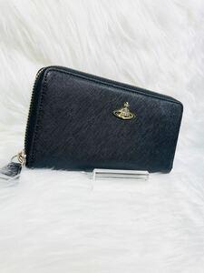 「ほぼ未使用」Westwood ヴィヴィアンウエストウッド ブラック長財布 ラウンドファスナー