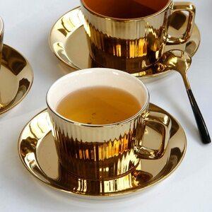 ◆1円スタート◆輝きのカプチーノカップ☆コーヒー ラテ カップ ソーサー 豪華 ゴールデン ヨーロピアン プリン 紅茶 ロイヤル AT9491