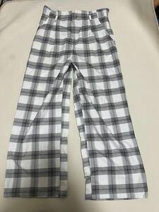 チェック チェック柄 ワイド パンツ sizeL/ サイズL 黒xホワイト
