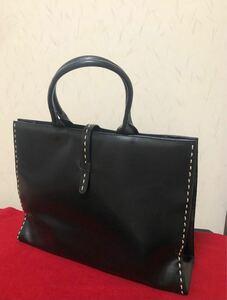 【美品】デパート購入 黒にステッチ 2,3回使用 A4対応 通勤 通学 ビジネス バッグ デイリー トートバッグ ハンドバッグ