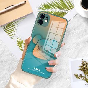 iphone12 ケース カバー 液体ガラス 耐衝撃 おしゃれ かわいい くま ダークグリーン×オレンジ