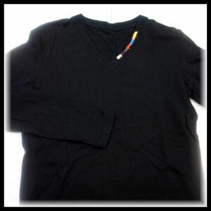 ウノピゥウノウグァーレトレ 1piu1uguale3 flagship store limited 長袖 Vネック MRT144 ブラック×レインボー size3