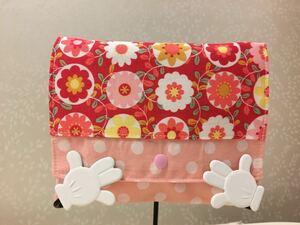 ●ハンドメイド●カラフルな花柄 移動ポケット クリップつき スナップ開閉 ピンク