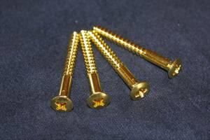 ★日本製 ネックジョイントビス ゴールド ブラス 4本セット ネジ 真鍮 金★