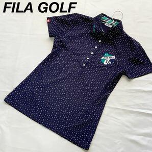 【人気】FILA GOLF ゴルフウェア ポロシャツ レディース M ネイビー 紺 ドット 水玉 点 ワッペン
