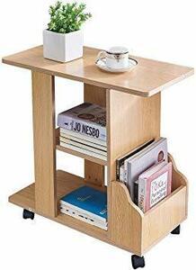 ゴールドチーク KMAYA サイドテーブル 可移動デスク キャスター付き おしゃれ ベッドサイドテーブル コの字型デザイン 二段