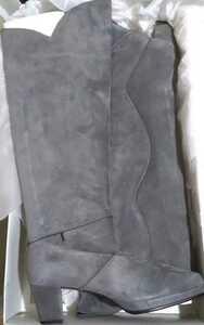 新品バックスキンニーハイロングブーツグレー24.5cmレディースふくらはぎ太め