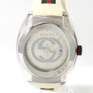【中古】グッチ シンク 腕時計 メンズ レディース ユニセックス クォーツ SS ラバー ホワイト シルバー文字盤 シェリー 137 1 YA137102A
