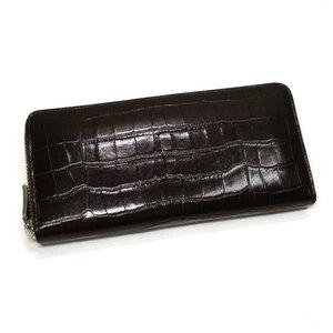 未使用【中古】ポールスチュアート ラウンドファスナー 長財布 クロコ型押し レザー ブラウン SP14015