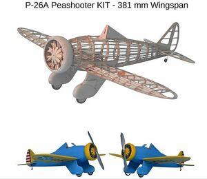 ★入手困難★P-26A豆鉄砲スローフライヤーキット、翼幅381 mm、1/20スケール 陸上戦闘機 P-26A 単葉機 アメリカ陸軍航空隊