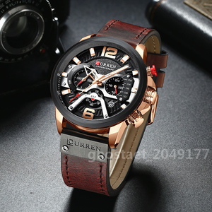 CURREN/海外厳選人気ブランド 腕時計 メンズ ウォッチ 多機能防水 夜光 耐衝撃 日付 クロノグラフ クォーツ式 本革バンド カラー選択可 001
