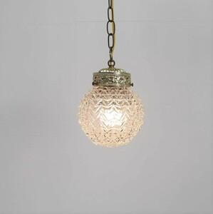 #3049 アメリカ アンティーク 照明 カットガラス ペンダントランプ 吊り下げ 日本製電球交換可 カフェ ヴィンテージ