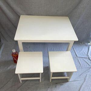 3点 キッズ テーブル チェア セット 60x45x41 cm 24×24×24 ニトリ、子供 机 椅子 おままごと お遊戯 習い事 ベビー家具