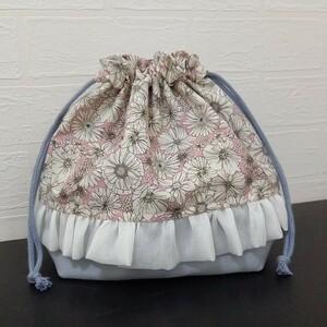 【ハンドメイド】LIBERTY風 お弁当袋 ランチバッグ 巾着 給食袋 コップ袋