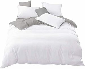 新品 ホワイト+ライトグレー ダブル・4点セット tkone 布団カバー 4点セット ダブル 寝具カバー 洋式・和式NRMB