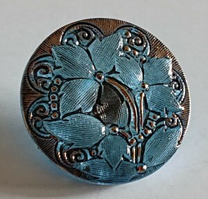 チェコ・ガラスボタン 27mm クリアライトブルー×ゴールド/2輪の星形のお花のボタン コレクション ハンドメイドに