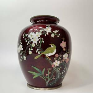 日本伝統工芸品 七宝焼 赤透 花鳥紋 花瓶 花器