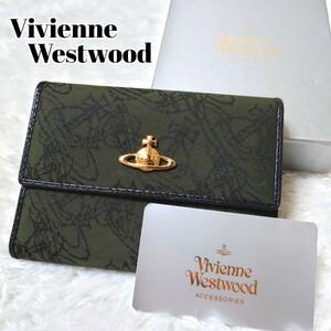 激レア Vivienne Westwood ヴィヴィアンウエストウッド レディース財布 長財布 総柄 オーブロゴ カーキ