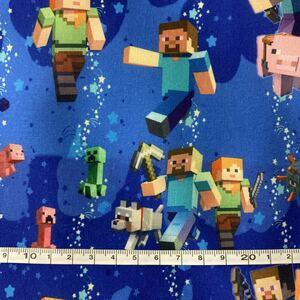 Minecraft 青系 マイクラ ゲーム柄 マインクラフト ハギレ ハンドメイド 輸入生地 はぎれ