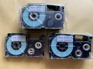 カシオ ネームランド 白テープ 黒字 6mm 18mm 24mm 未使用品 3個  CASIO