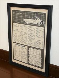 1970年 USA 70s vintage 洋書雑誌記事 諸元 スペック表 額装品 FIAT 850 Racer フィアット / 検索用 店舗 ガレージ 看板 装飾 サイン (A4)