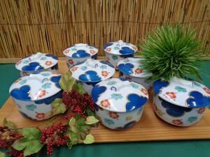 厨房品 和食器 料亭使用 茶碗蒸し器 梅/紅葉絵柄金色 9客 陶器 中古品