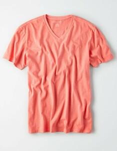 * AE アメリカンイーグル シンプル Vネック T Tシャツ L / Coral *