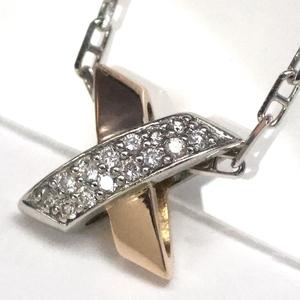 K18×PT900 ヴァンドーム クロスモチーフ ダイヤモンドネックレス