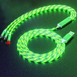 3in1 急速充電ケーブル 流れるLEDライト iPhone/android/type -c対応 長さ1.2m グリーン