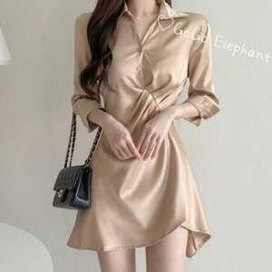 韓国デザインシルク風光沢感 ミニワンピース 大人女子 綺麗め シャツ