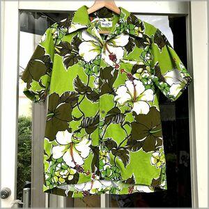 ★Hawaii Nei 60s 70s 半袖 開襟 アロハシャツ★検 ビンテージ ハワイアン オープンカラー