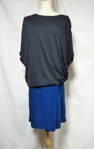 Abahouse Devinette アバハウスドゥビネット 異素材コンビワンピース グレー×ブルー フリーサイズ 秋服 日本製