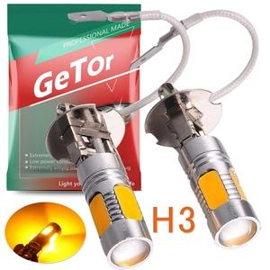 GeTor H3 12V/24V 100W 5連SMD COBチップ LED フォグランプ 霧灯 高輝度 アンバー オレンジ イエロー 黄 H3 フォグランプ 霧灯 2個セット