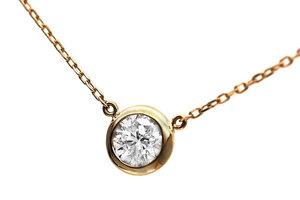 最高品質!Dカラーエクセレント!K18YG ダイヤモンド0.191ctダイヤモンドネックレス 18金一粒ダイヤネックレス D/SI2/EX
