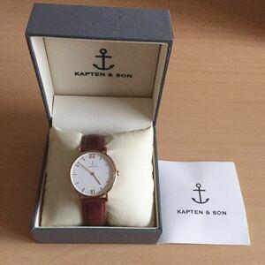 846-0072 KAPTEN & SON メンズ レディース 腕時計 革ベルト クオーツ CAMPINA 稼働品