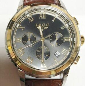 853-0502 LIGE リージ メンズ腕時計 クォーツ クロノグラフ 革ベルト 茶色 1853 電池切れ 動作未確認