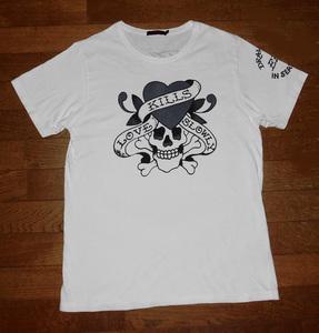 Don Ed Hardy エド ハーディー KILLS LOVE SLOWLY スカル Tシャツ 半袖 コットン カットソー 正規品 WHT L 使用少 美品